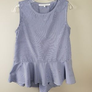 Blue And white Hi low Peplum Tank Size Small